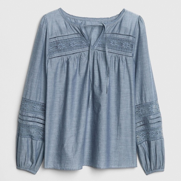 GAP Tops - Gap Lace Chambray Peasant Blouse